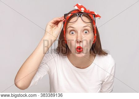 Are You Serious? Portrait Of Wondered Surprised Young Woman In White T-shirt With Freckles, Glasses,