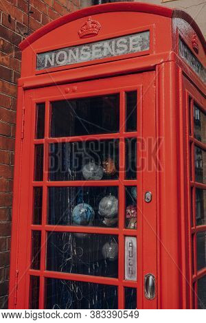 Oxford, Uk - August 04, 2020: Close Up Of A Nonsense Converted Art Red Post Box On A Street In Oxfor