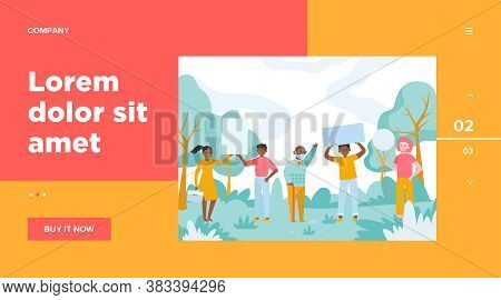 People Standing With Placards In Park. Protest, Banner, Opinion Flat Vector Illustration. Democracy