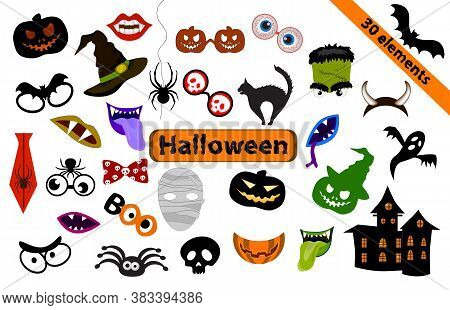 Halloween-set Of 30 Design Elements For Party Props. Photo Booth Props. Monster Party Printable And