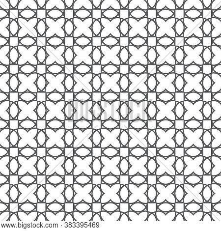 Seamless Pattern. Modern Simple Texture. Regularly Repeating Geometrical Linear Ornament With Crosse