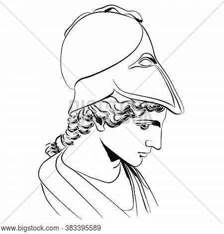 Vector Linear Illustration Of An Antique God. An Isolated Image Of The Goddess Of Sciences And Craft