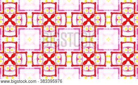 Watercolor Tie Dye Seamless Pattern. Ethnic Geometric Fabric Design. Colorful And White Color. Tie-d
