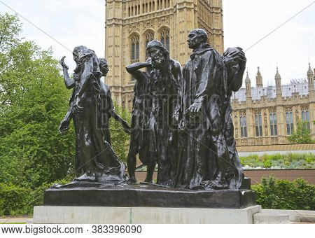 London, Great Britain -may 22, 2016: Sculptural Group The Burghers Of Calais In The Victoria Tower G