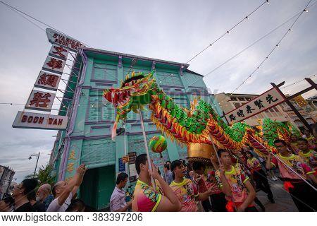 George Town, Penang/malaysia - Jul 07 2017: Dragon Dance Performance At Street.