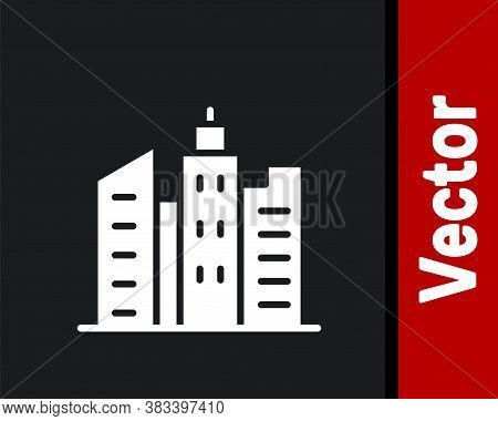 White City Landscape Icon Isolated On Black Background. Metropolis Architecture Panoramic Landscape.