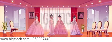 Bridal Shop Interior With Wedding Dresses On Mannequins And Large Mirrors With Lighting. Empty Bouti