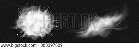 Dust Spray, White Smoke, Powder Explosion With Particles. Flow Mist, Smoky Stream Trail, Aroma Or To