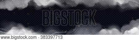 Smoke Frame, Horizontal Border With White Smog Clouds And Particles Isolated On Transparent Backgrou