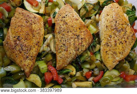 Chicken Breast With Zucchini Pak Choi Oven Vegetables