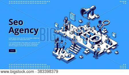 Seo Agency Banner. Service For Promotion And Advertising Company In Social Media And Web. Vector Lan