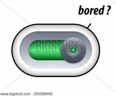 Bored Concept. Press The Slide Button For Bored Mood. Isolated On White Background. Vector Illustrat