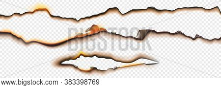 Burnt Paper Edges With Fire And Black Ash Isolated On Transparent Background. Vector Realistic Set O