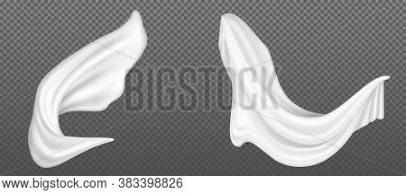 Flying White Silk Fabric Isolated On Transparent Background. Vector Realistic Set Of Billowing Velve