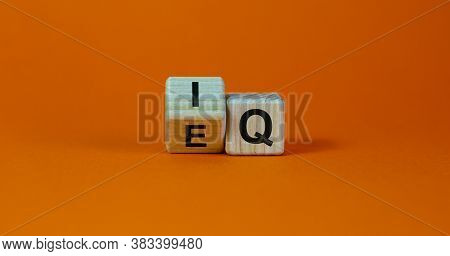 Wooden Cubes With Changed The Expression 'iq' 'intelligence Quotient' To 'eq' 'emotional Intelligenc