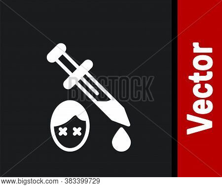 White Sword With Blood Icon Isolated On Black Background. Medieval Weapons Knight And Soldier. Symbo