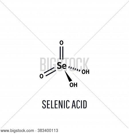 Selenic Acid Molecular Structure On White Background. Vector Illustration