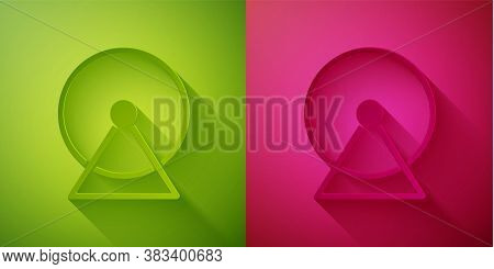 Paper Cut Hamster Wheel Icon Isolated On Green And Pink Background. Wheel For Rodents. Pet Shop. Pap