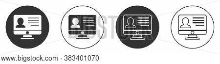 Black Computer Monitor With Resume Icon Isolated On White Background. Cv Application. Searching Prof