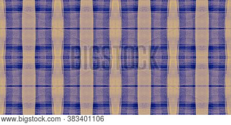 Watercolor Textured Checks. Blue Stripes Flannel. Graphic Tile Design. Seamless Buffalo Wallpaper. V
