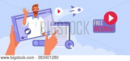 Free Online Webinar Vector Concept With Man Tutor Training Online, Hands, Rocket. E-learning Or Digi
