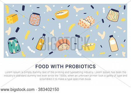 Probiotic Foods That Are Super Healthy. Foods With Probiotics That Help Digestion. Fermented Foods F
