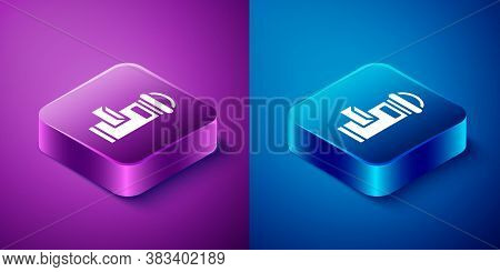 Isometric Traditional London Mail Box Icon Isolated On Blue And Purple Background. England Mailbox I