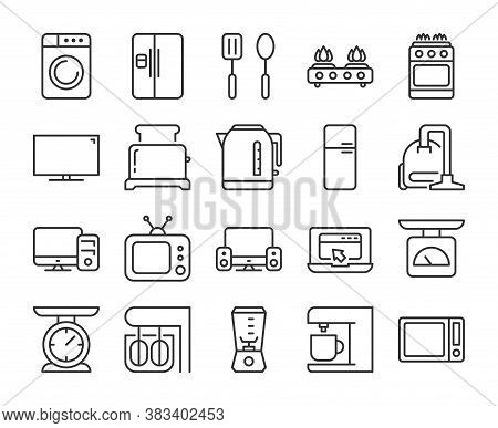 Household Appliances Icon. Kitchen And Home Appliances Line Icons Set. Editable Stroke.