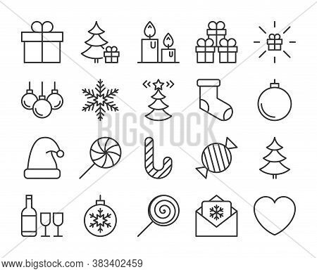 Merry Christmas Icon. Merry Christmas And Happy New Year Line Icons Set. Editable Stroke.