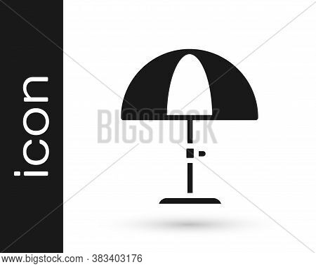 Black Sun Protective Umbrella For Beach Icon Isolated On White Background. Large Parasol For Outdoor