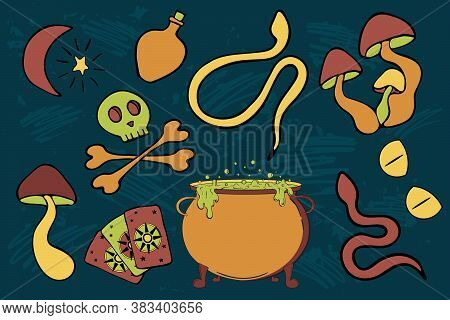 Witchcraft Vector Sticker Pack. Poisonous Doodle Objects For Print Design. Cauldron With Potion, Sna