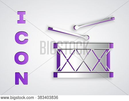 Paper Cut Musical Instrument Drum And Drum Sticks Icon Isolated On Grey Background. Paper Art Style.
