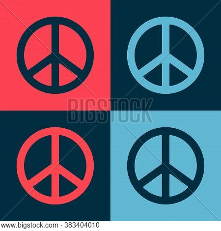 Pop Art Peace Icon Isolated On Color Background. Hippie Symbol Of Peace. Vector