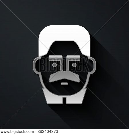Silver Portrait Of Joseph Stalin Icon Isolated On Black Background. Long Shadow Style. Vector
