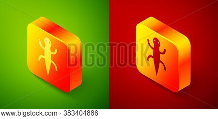 Isometric Lizard Icon Isolated On Green And Red Background. Square Button. Vector