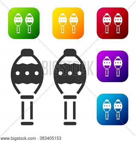 Black Maracas Icon Isolated On White Background. Music Maracas Instrument Mexico. Set Icons In Color