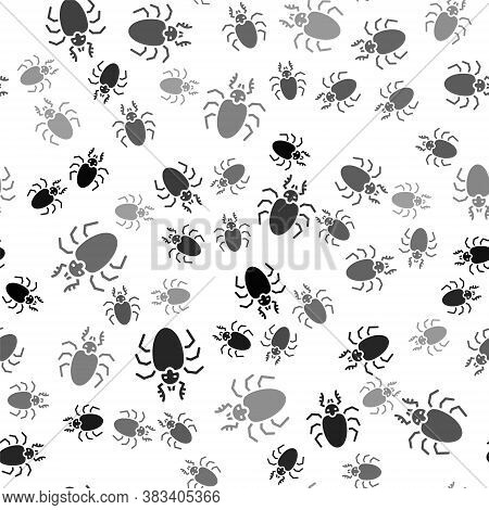 Black Beetle Deer Icon Isolated Seamless Pattern On White Background. Horned Beetle. Big Insect. Vec
