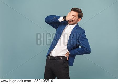 Health Care. Man Closed Eyes And Have Discomfort In Spine