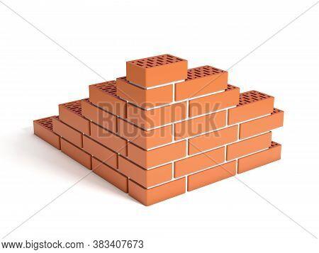 Small Brick Wall 3d Illustration, Three Dimensional Object