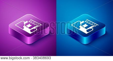 Isometric Ancient Ruins Icon Isolated On Blue And Purple Background. Square Button. Vector