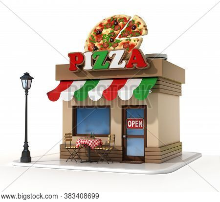 Pizzeria Mini Store 3d Illustration, Three Dimensional Object