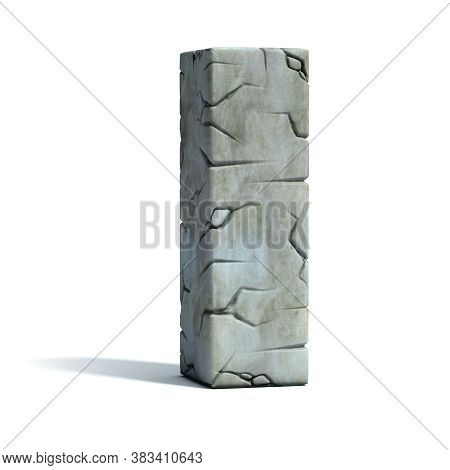 Cracked Stone 3d Font Letter I, Three Dimensional Object