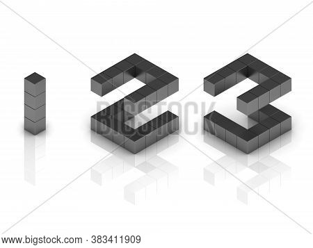 Cubical 3d Font Numbers 1 2 3, Three Dimensional Object