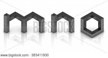Cubical 3d Font Letters M N O