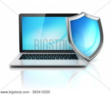 Laptop With Shield - Internet Security, Antivirus Or Firewall 3d Concept