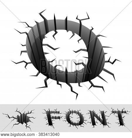 Cracked 3d Font Letter O, Three Dimensional Object