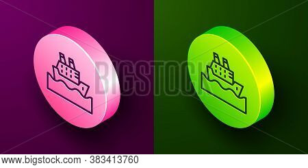 Isometric Line Cruise Ship In Ocean Icon Isolated On Purple And Green Background. Cruising The World