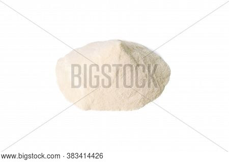 Agar-agar Powder Isolated On White Background. Front Views, Close-up.