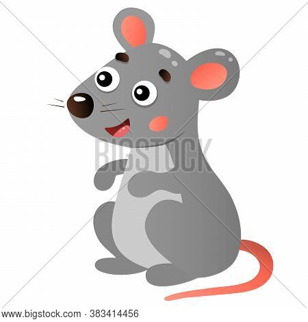 Color Image Of Cartoon Mouse On White Background. Animals. Vector Illustration For Kids.