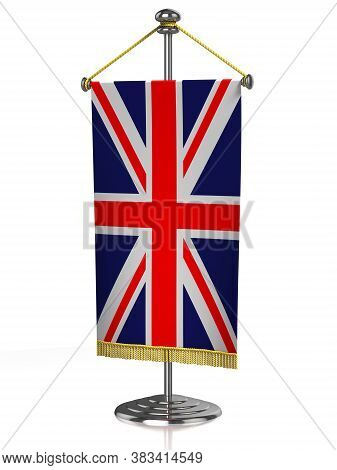 Great Britain Table Flag Isolated On White, Three Dimensional Object